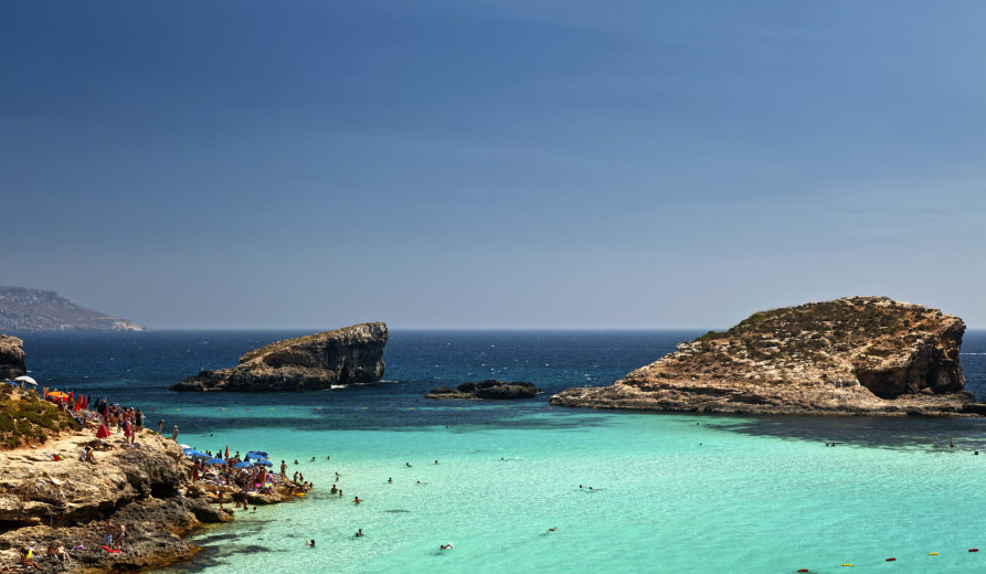 Blue lagoon beaches in Europe